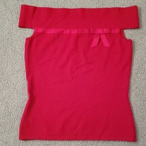 INC Petite Red off the shoulder shirt